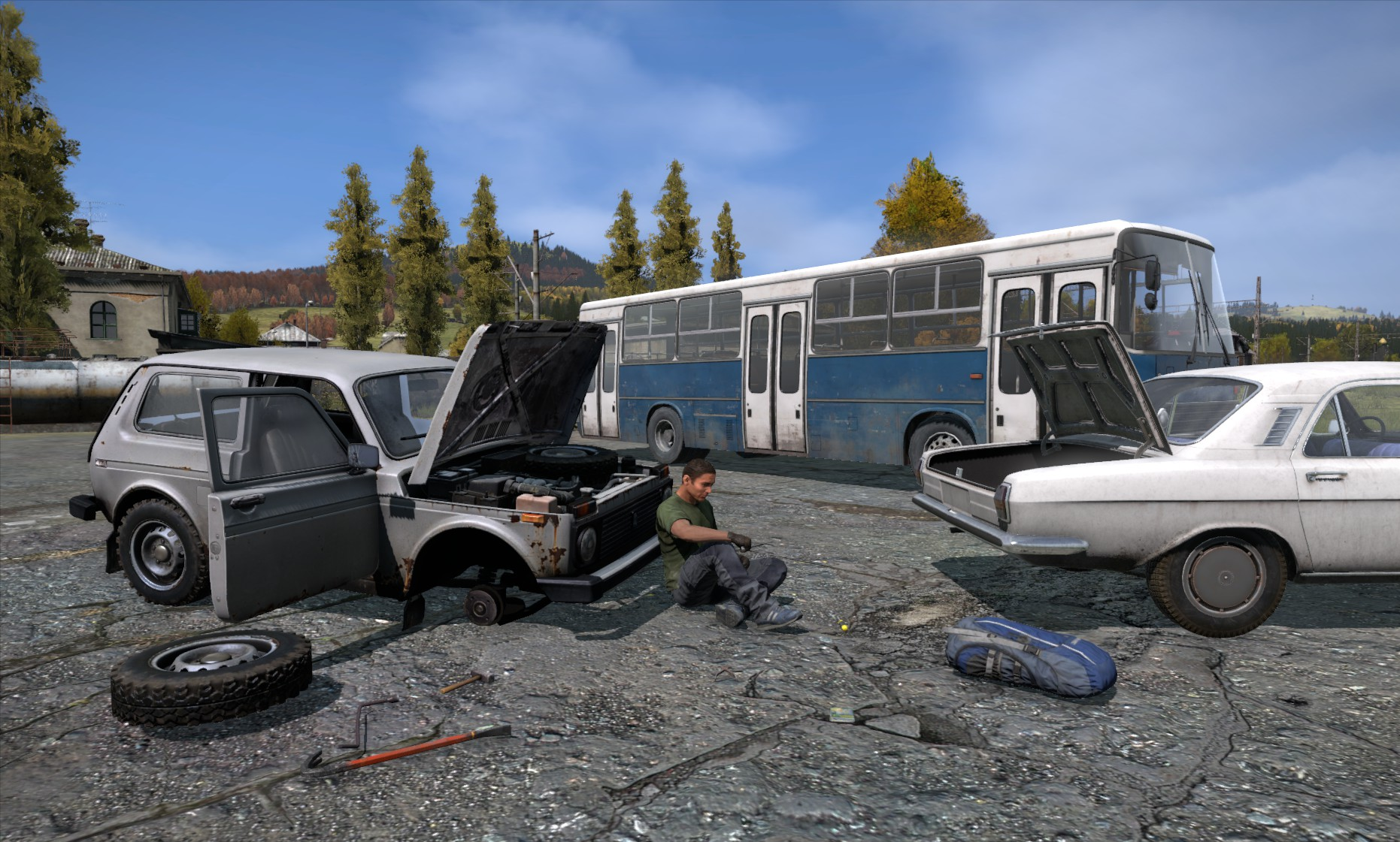Sedan, Offroader und Bus in DayZ