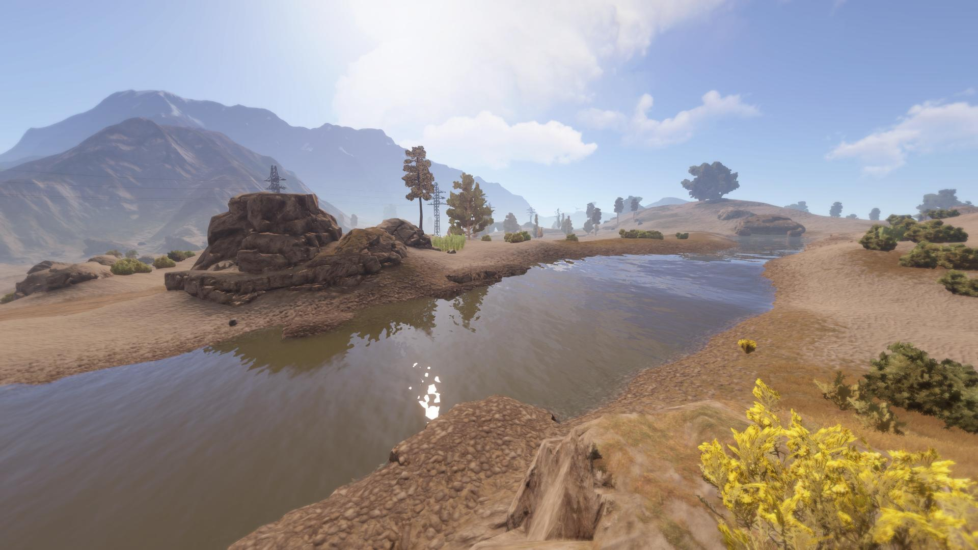 Fluss durch trockene Wüste in Rust