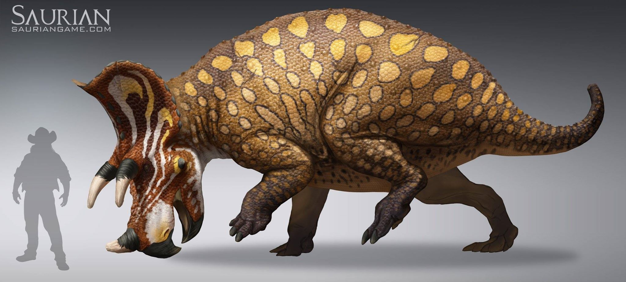 Grown Triceratops compared to human