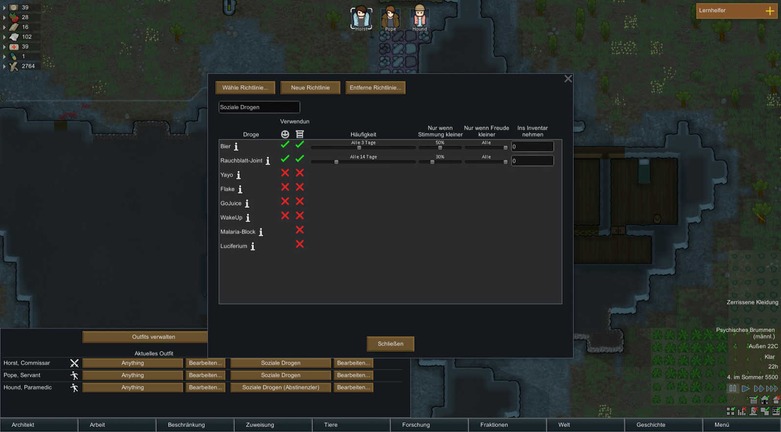 RimWorld Drogenmanagement