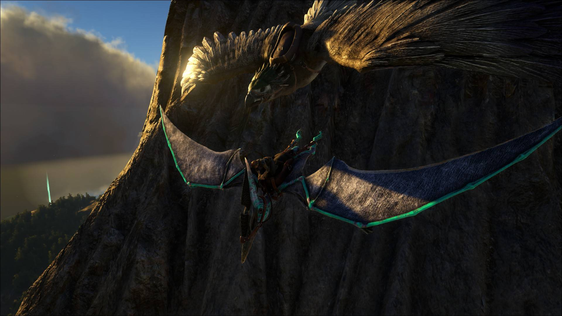 Pteranodon being chased.