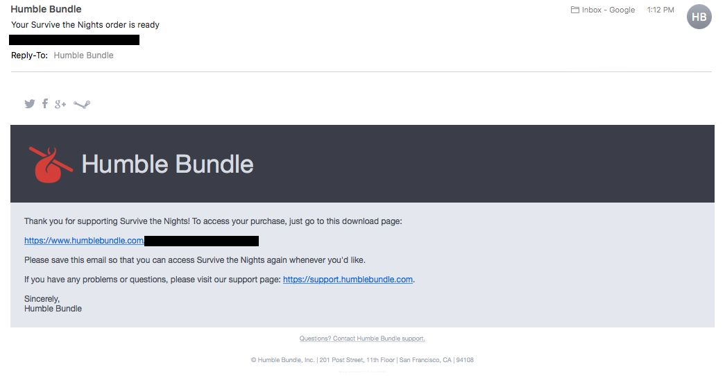 Survive the nights humble bundle key