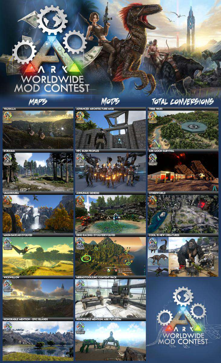 ark survival evolved modding contest all mods
