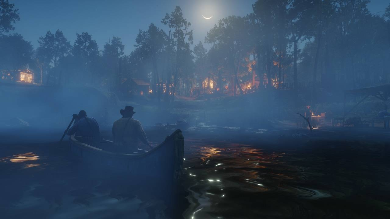 Red Dead Redemption 2 Screenshot Night Boat River
