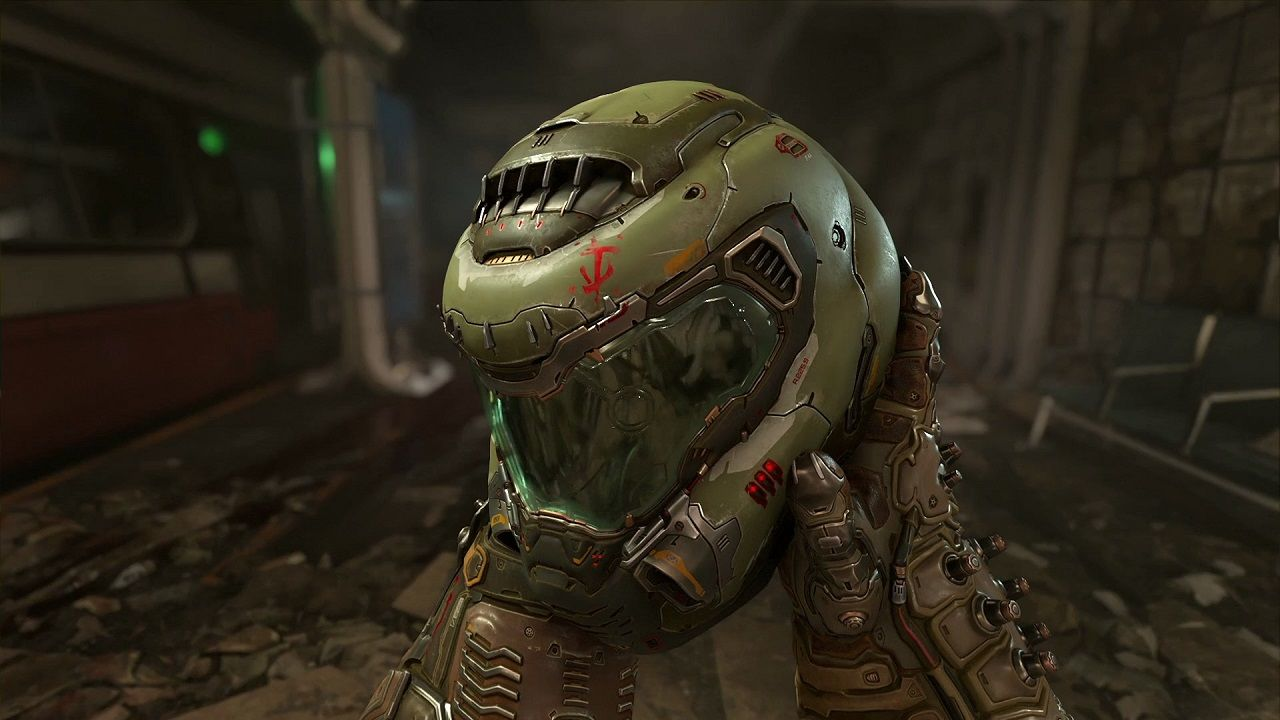 doom eternal slyer helmet closeup