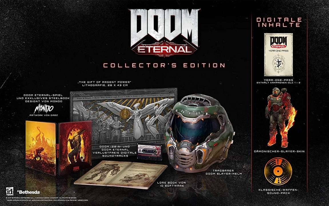 doom eternal collectors edition content inhalt slayer helmet helm steelbook
